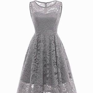 33364f12f7aa76 MUADRESS Dresses - MUADRESS Womens Vintage Lace Sleeveless Dress Gray